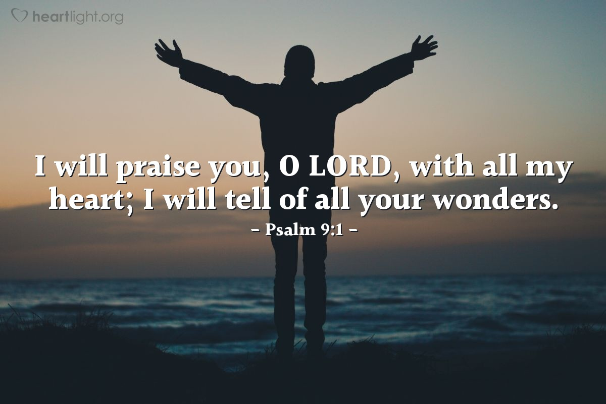 Illustration of Psalm 9:1 on Praise