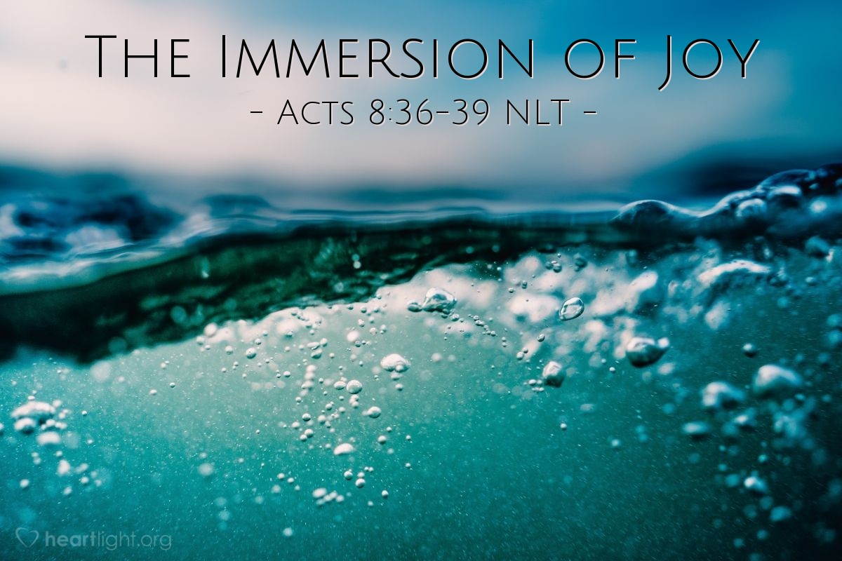 """Illustration of Acts 8:36-39 NLT — As [Philip and the Ethiopian eunuch] rode along, they came to some water, and the eunuch said, """"Look! There's some water! Why can't I be baptized?"""" He ordered the carriage to stop, and they went down into the water, and Philip baptized him.  When they came up out of the water, the Spirit of the Lord snatched Philip away. The eunuch never saw him again but went on his way rejoicing."""