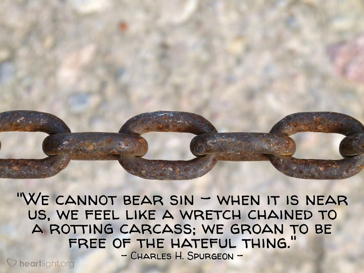 """Illustration of Charles H. Spurgeon — """"We cannot bear sin - when it is near us, we feel like a wretch chained to a rotting carcass; we groan to be free of the hateful thing."""""""