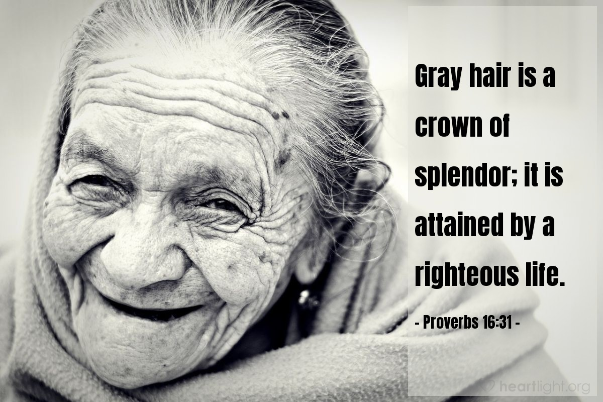Illustration of Proverbs 16:31 — Gray hair is a crown of splendor; it is attained by a righteous life.