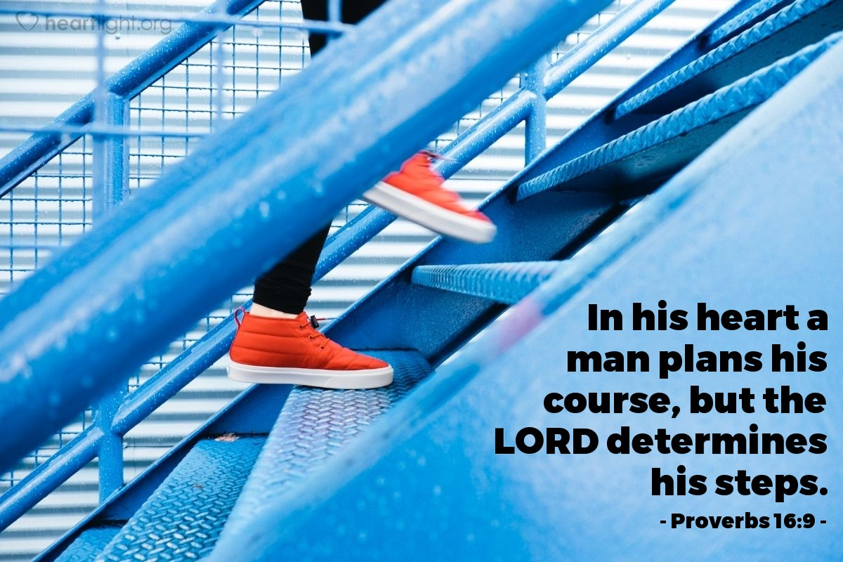 Illustration of Proverbs 16:9 — In his heart a man plans his course, but the LORD determines his steps.