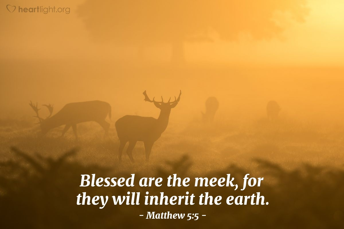 Illustration of Matthew 5:5 — Blessed are the meek, for they will inherit the earth.
