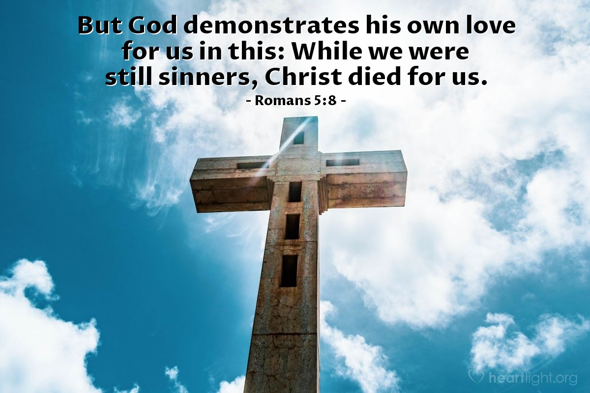 Illustration of Romans 5:8 on Sinners