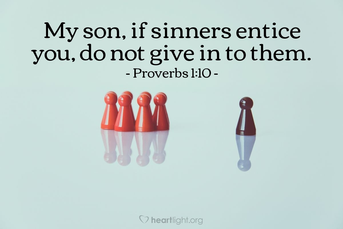 Illustration of Proverbs 1:10 on Sinners