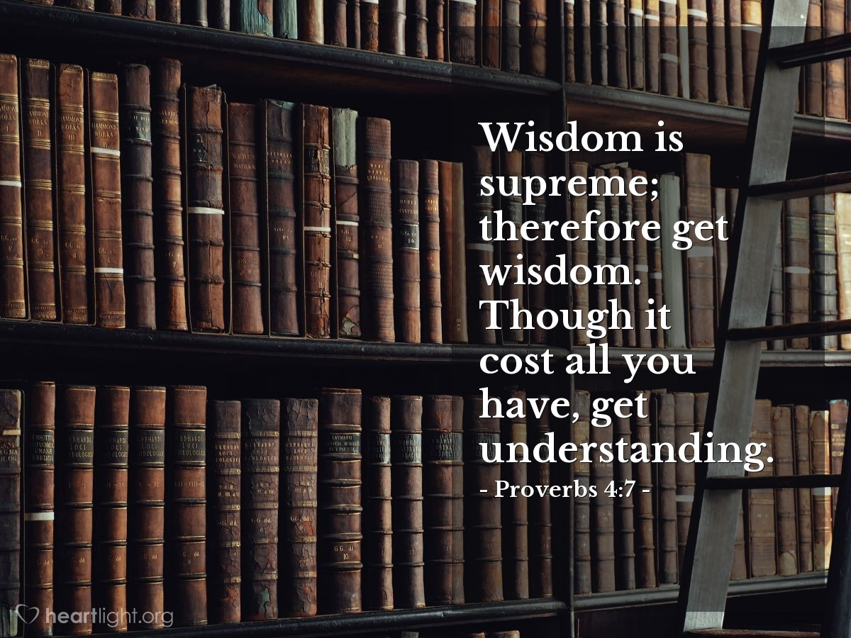 Illustration of Proverbs 4:7 — Wisdom is supreme; therefore get wisdom. Though it cost all you have, get understanding.