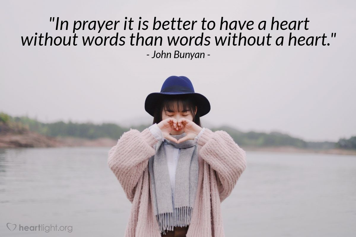 """Illustration of John Bunyan — """"In prayer it is better to have a heart without words than words without a heart."""""""