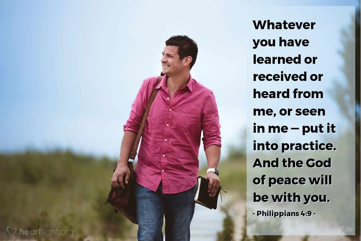 Inspirational illustration of Philippians 4:9