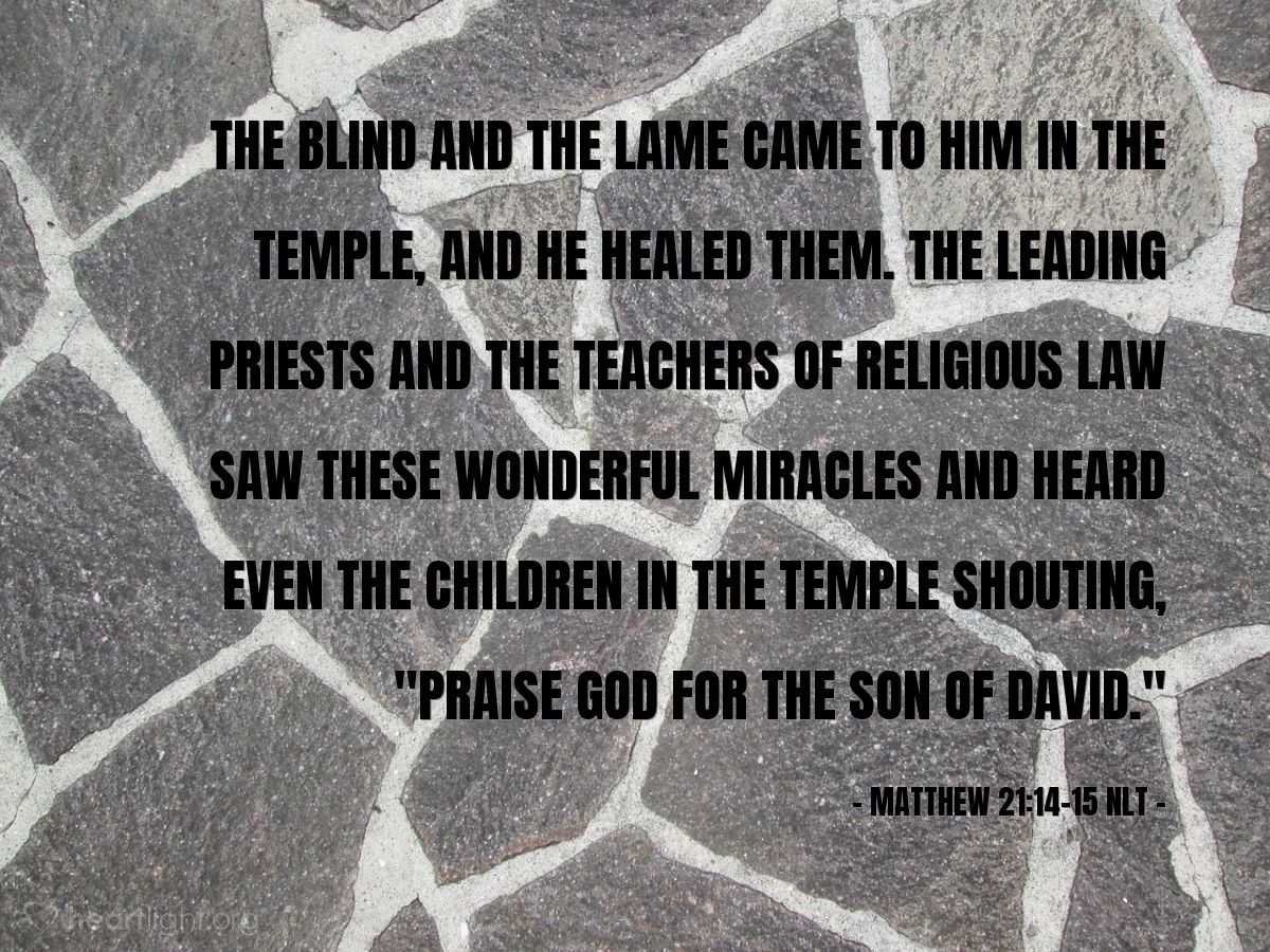 """Illustration of Matthew 21:14-15 NLT — The blind and the lame came to him in the Temple, and he healed them. The leading priests and the teachers of religious law saw these wonderful miracles and heard even the children in the Temple shouting, """"Praise God for the Son of David."""""""