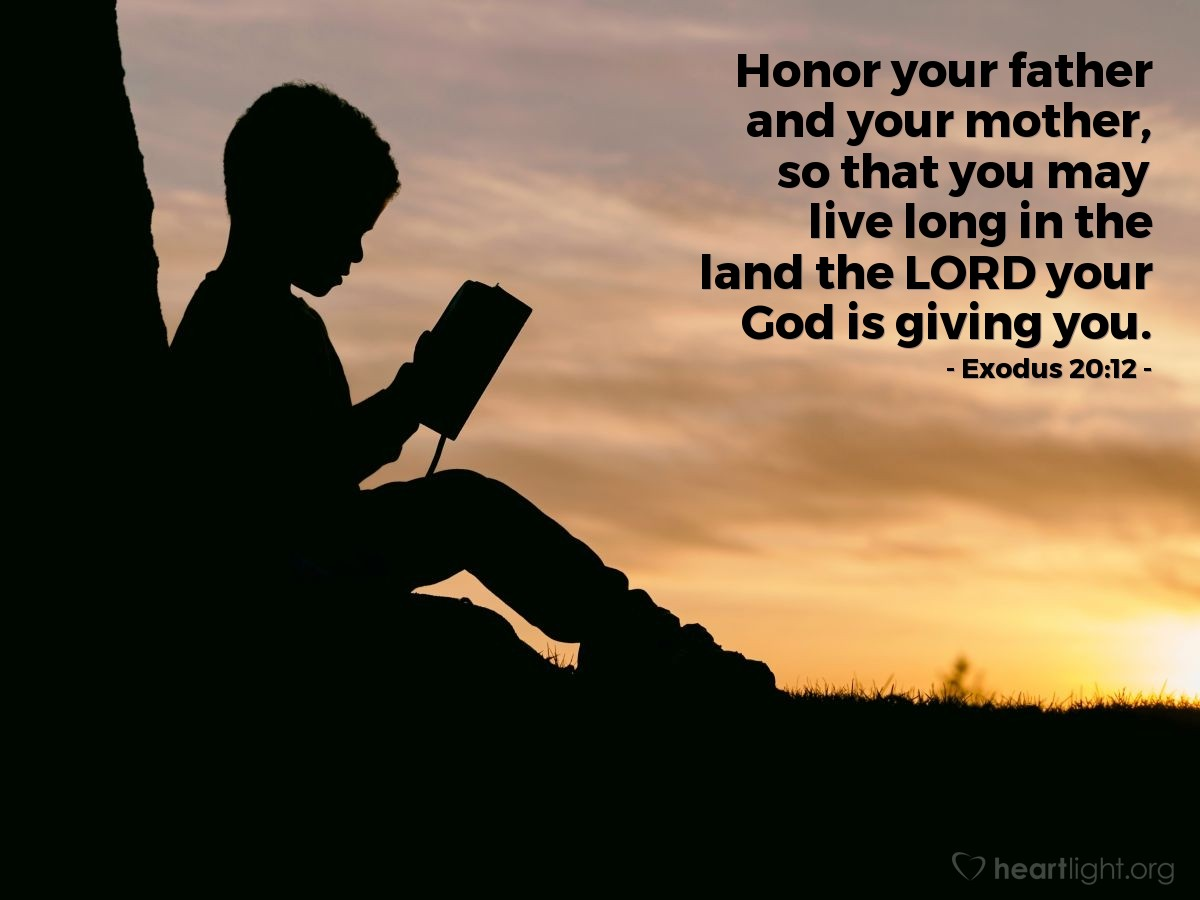 Illustration of Exodus 20:12 — Honor your father and your mother, so that you may live long in the land the LORD your God is giving you.