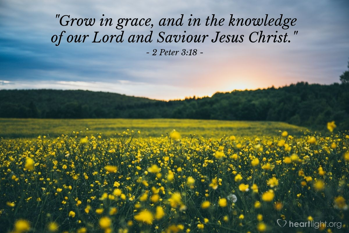 "Illustration of 2 Peter 3:18 — ""Grow in grace, and in the knowledge of our Lord and Saviour Jesus Christ."""