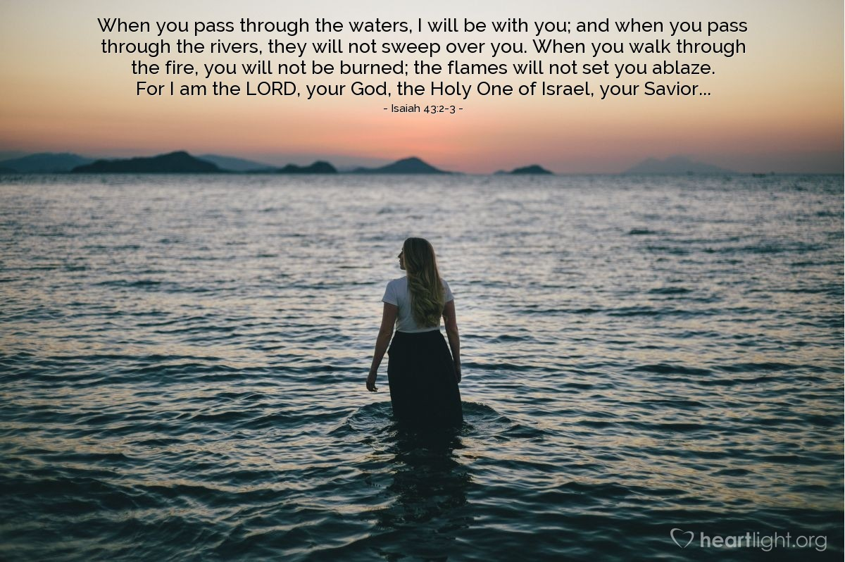 Inspirational illustration of Isaiah 43:2-3