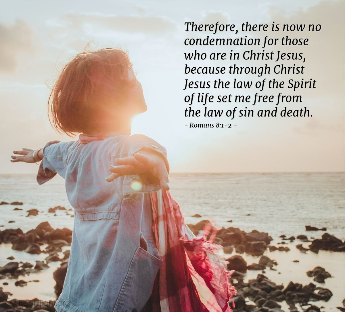 Illustration of Romans 8:1-2 — Therefore, there is now no condemnation for those who are in Christ Jesus, because through Christ Jesus the law of the Spirit of life set me free from the law of sin and death.