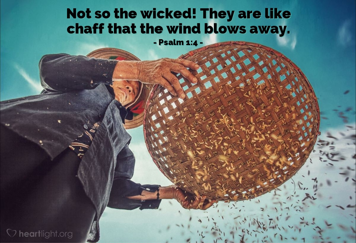 Illustration of Psalm 1:4 — Not so the wicked! They are like chaff that the wind blows away.