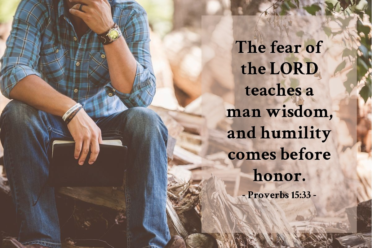 Illustration of Proverbs 15:33 — The fear of the LORD teaches a man wisdom, and humility comes before honor.