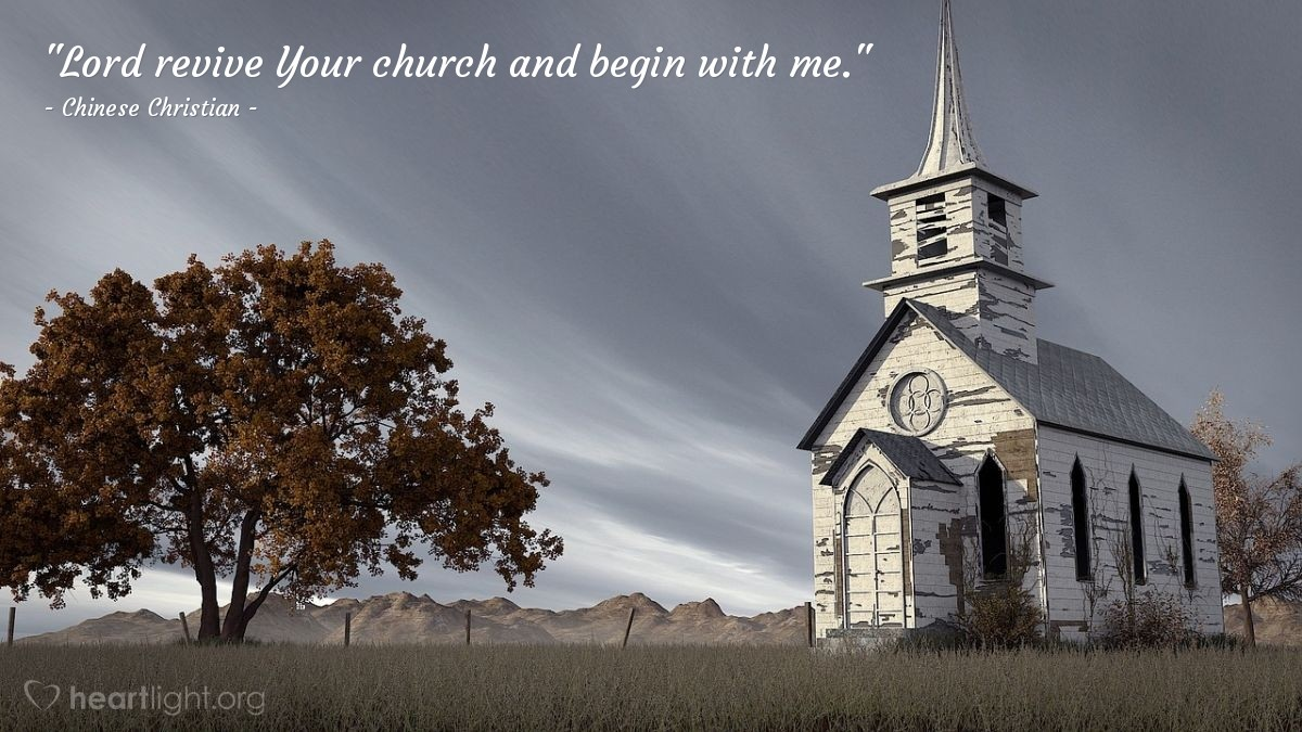 """Illustration of Chinese Christian — """"Lord revive Your church and begin with me."""""""