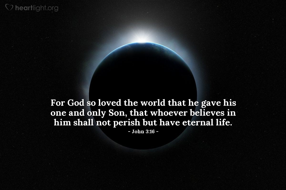 Illustration of John 3:16 on Jesus