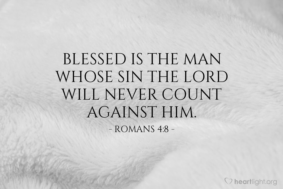 Illustration of Romans 4:8 — Blessed is the man whose sin the Lord will never count against him.