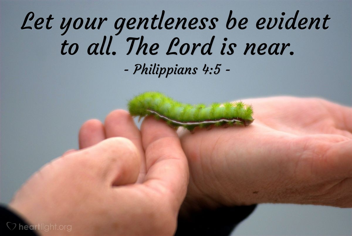Illustration of Philippians 4:5 — Let your gentleness be evident to all. The Lord is near.