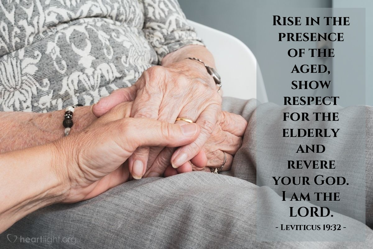 Illustration of Leviticus 19:32 — Rise in the presence of the aged, show respect for the elderly and revere your God. I am the LORD.