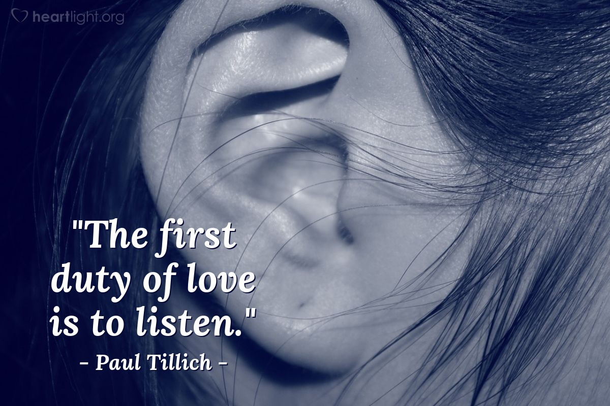 """Illustration of Paul Tillich — """"The first duty of love is to listen."""""""