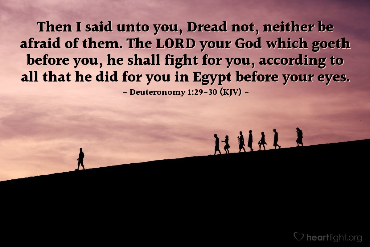 Illustration of Deuteronomy 1:29-30 (KJV) — Then I said unto you, Dread not, neither be afraid of them. The LORD your God which goeth before you, he shall fight for you, according to all that he did for you in Egypt before your eyes.