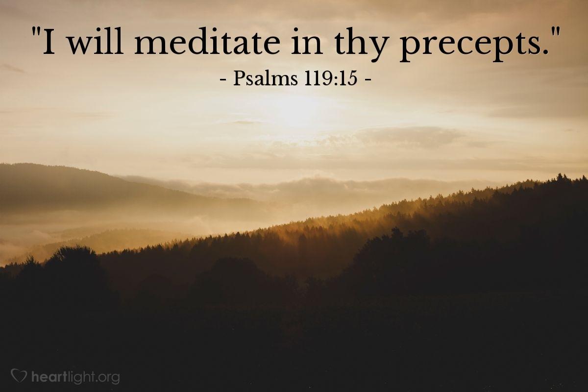 "Illustration of Psalms 119:15 — ""I will meditate in thy precepts."""