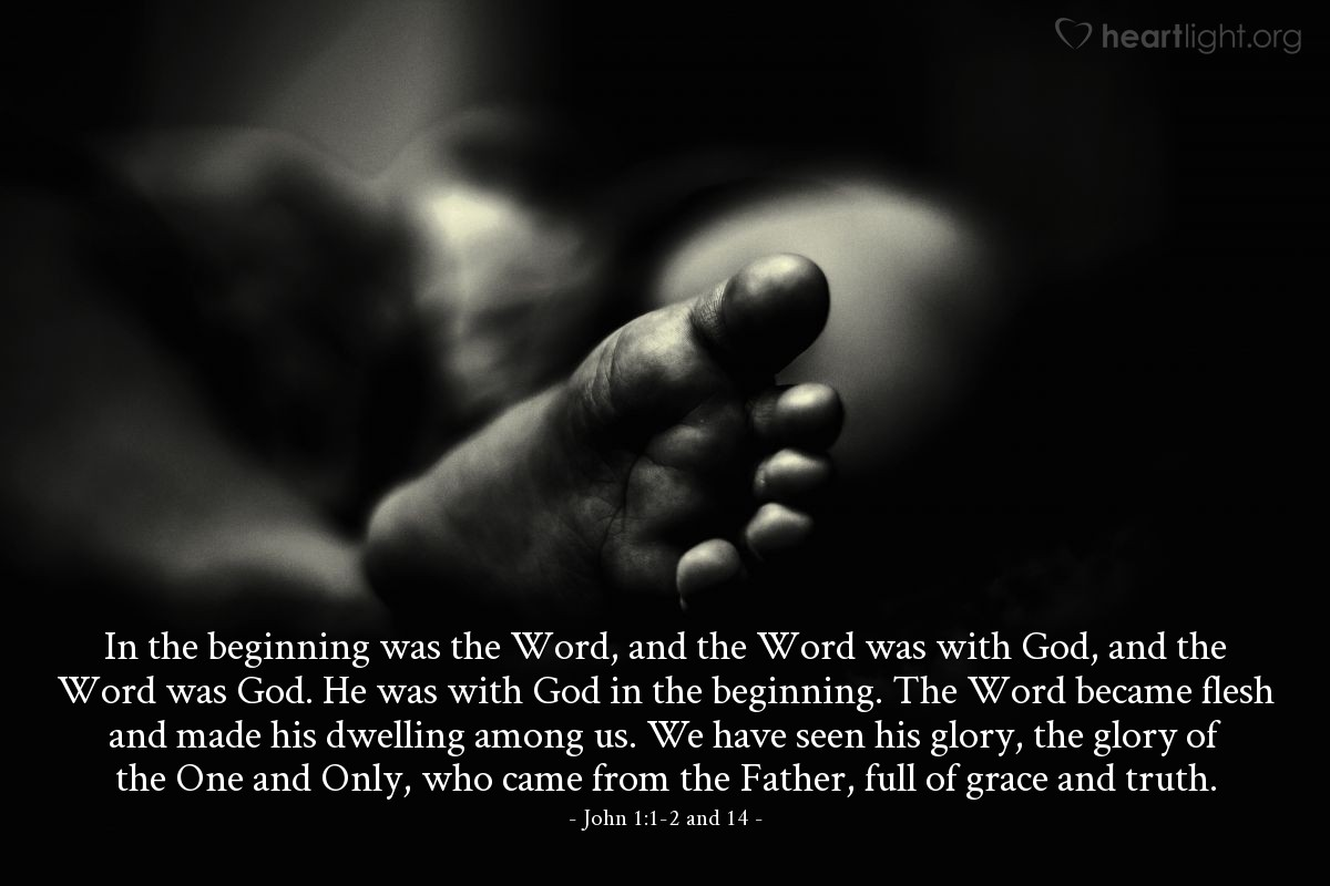 Inspirational illustration of John 1:1-2 and 14