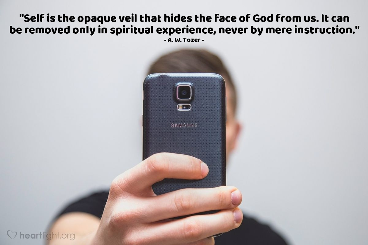 "Illustration of A. W. Tozer — ""Self is the opaque veil that hides the face of God from us. It can be removed only in spiritual experience, never by mere instruction."""