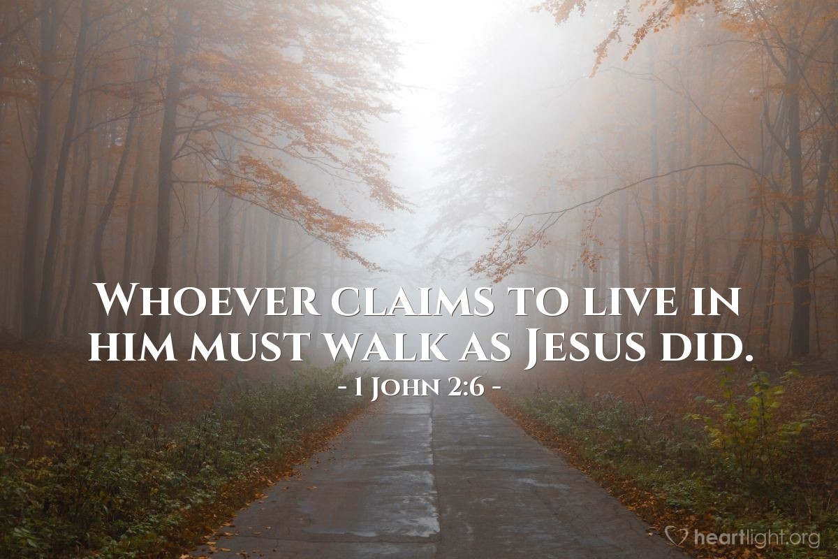 Illustration of 1 John 2:6 — Whoever claims to live in him must walk as Jesus did.
