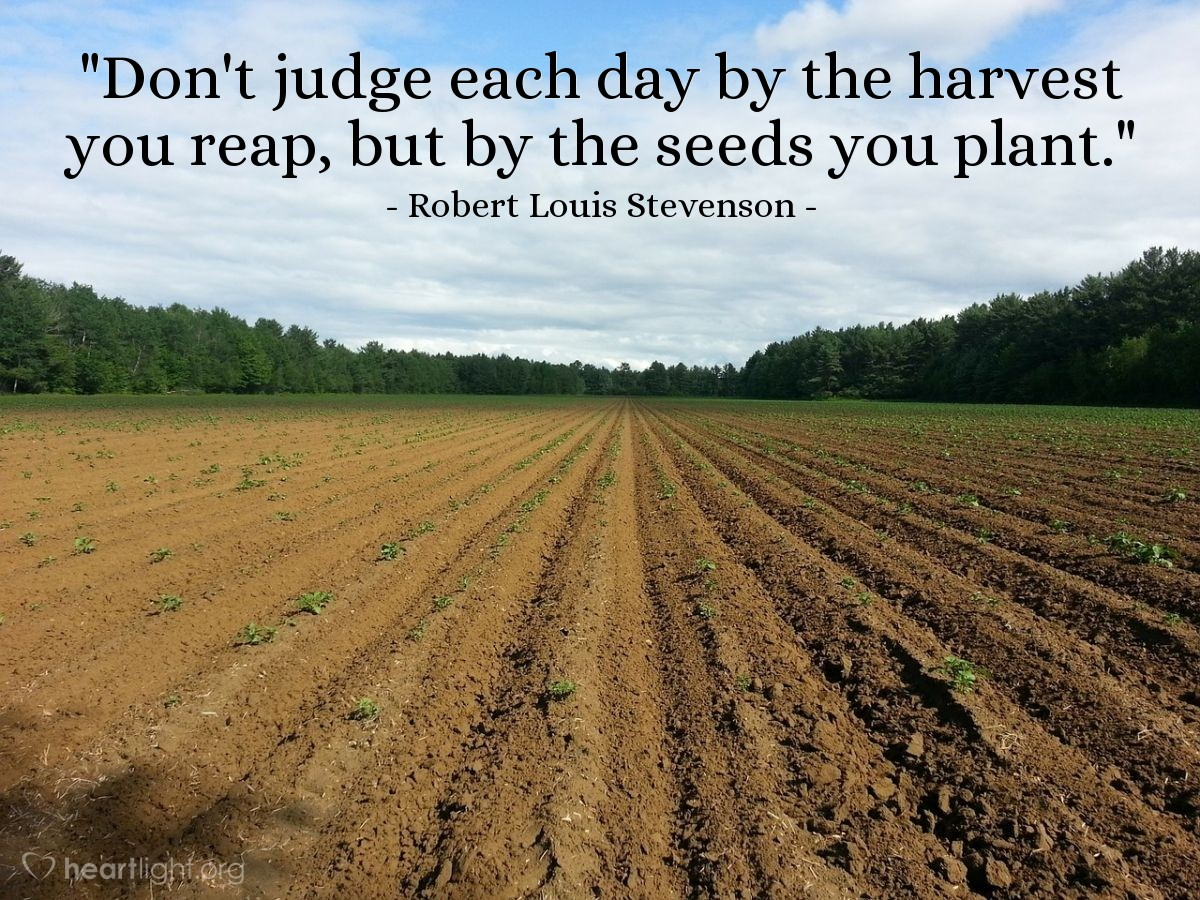 """Illustration of Robert Louis Stevenson — """"Don't judge each day by the harvest you reap, but by the seeds you plant."""""""
