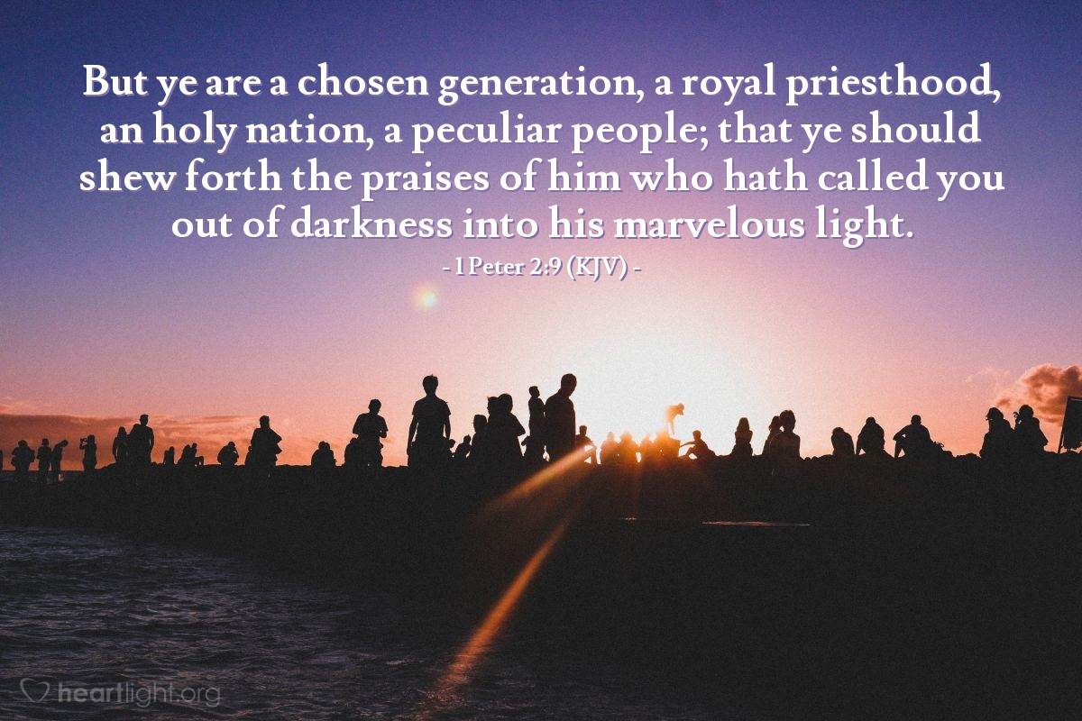 Illustration of 1 Peter 2:9 (KJV) — But ye are a chosen generation, a royal priesthood, an holy nation, a peculiar people; that ye should shew forth the praises of him who hath called you out of darkness into his marvelous light.