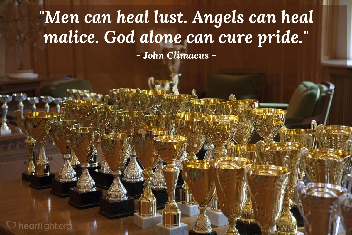 "Illustration of John Climacus — ""Men can heal lust. Angels can heal malice. God alone can cure pride."""