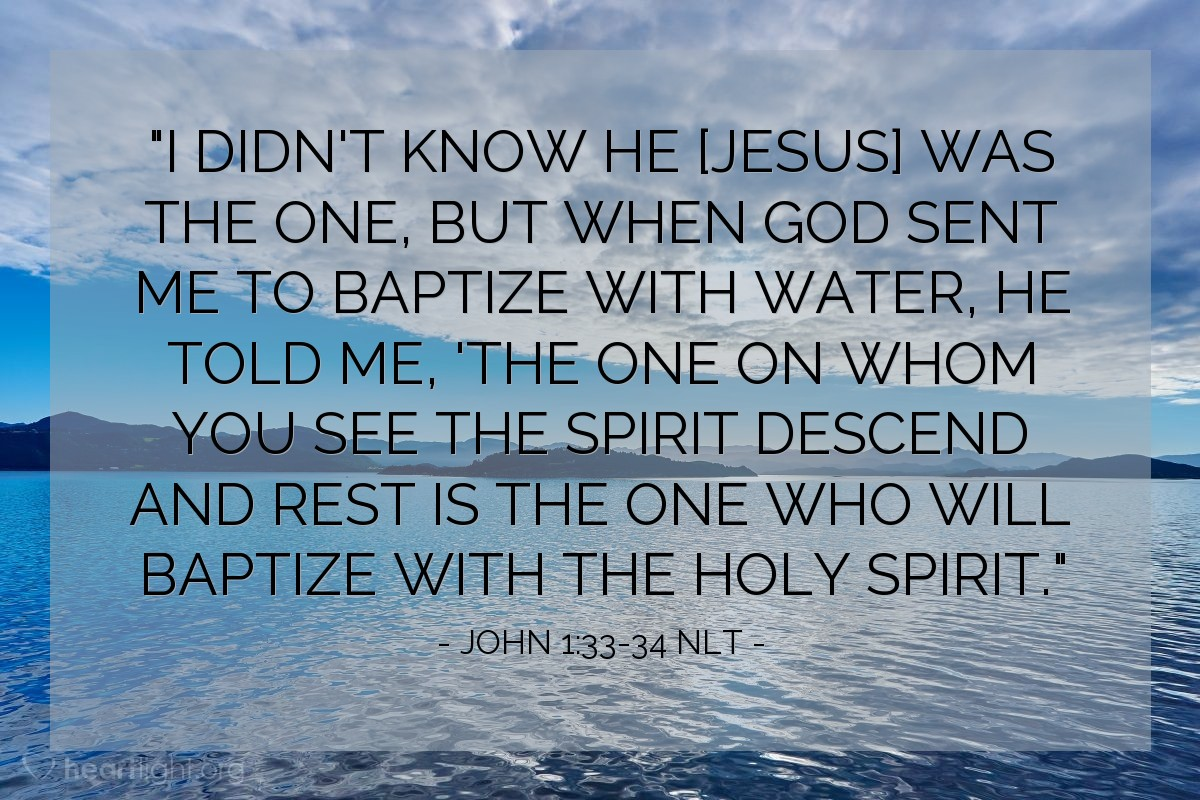 """Illustration of John 1:33-34 NLT — """"I didn't know [Jesus] was the one, but when God sent me to baptize with water, he told me, 'The one on whom you see the Spirit descend and rest is the one who will baptize with the Holy Spirit."""""""