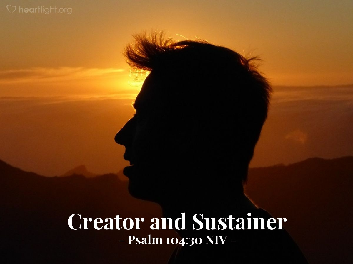 Illustration of Psalm 104:30 NIV — When you send your Spirit, [all creatures] are created, and you renew the face of the ground.