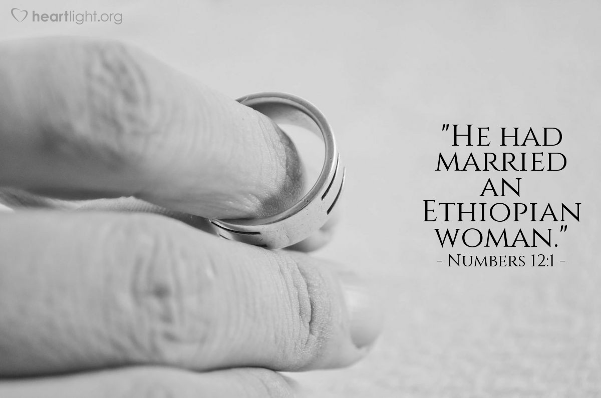 """Illustration of Numbers 12:1 — """"He had married an Ethiopian woman."""""""