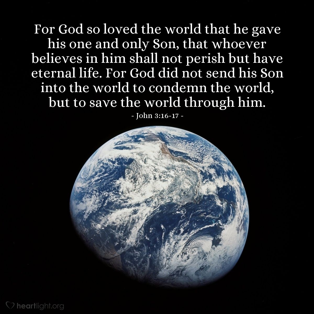 Illustration of John 3:16-17 on Love