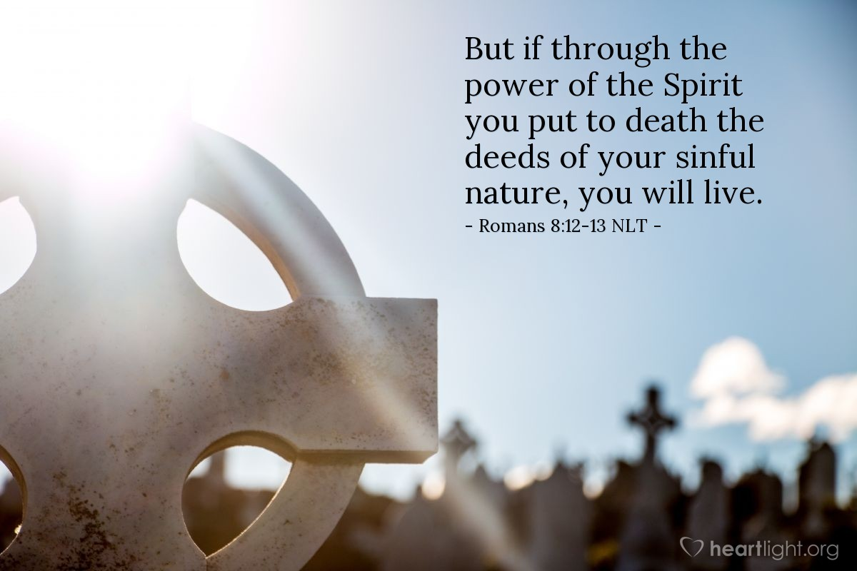 Illustration of Romans 8:12-13 NLT —  But if through the power of the Spirit you put to death the deeds of your sinful nature, you will live.