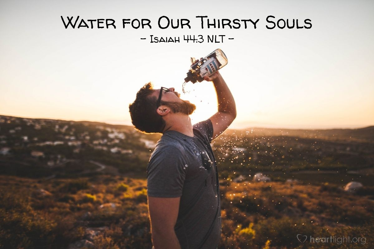"""Illustration of Isaiah 44:3 NLT — [The LORD said,] """"For I will pour out water to quench your thirst and to irrigate your parched fields. And I will pour out my Spirit on your descendants, and my blessing on your children."""""""