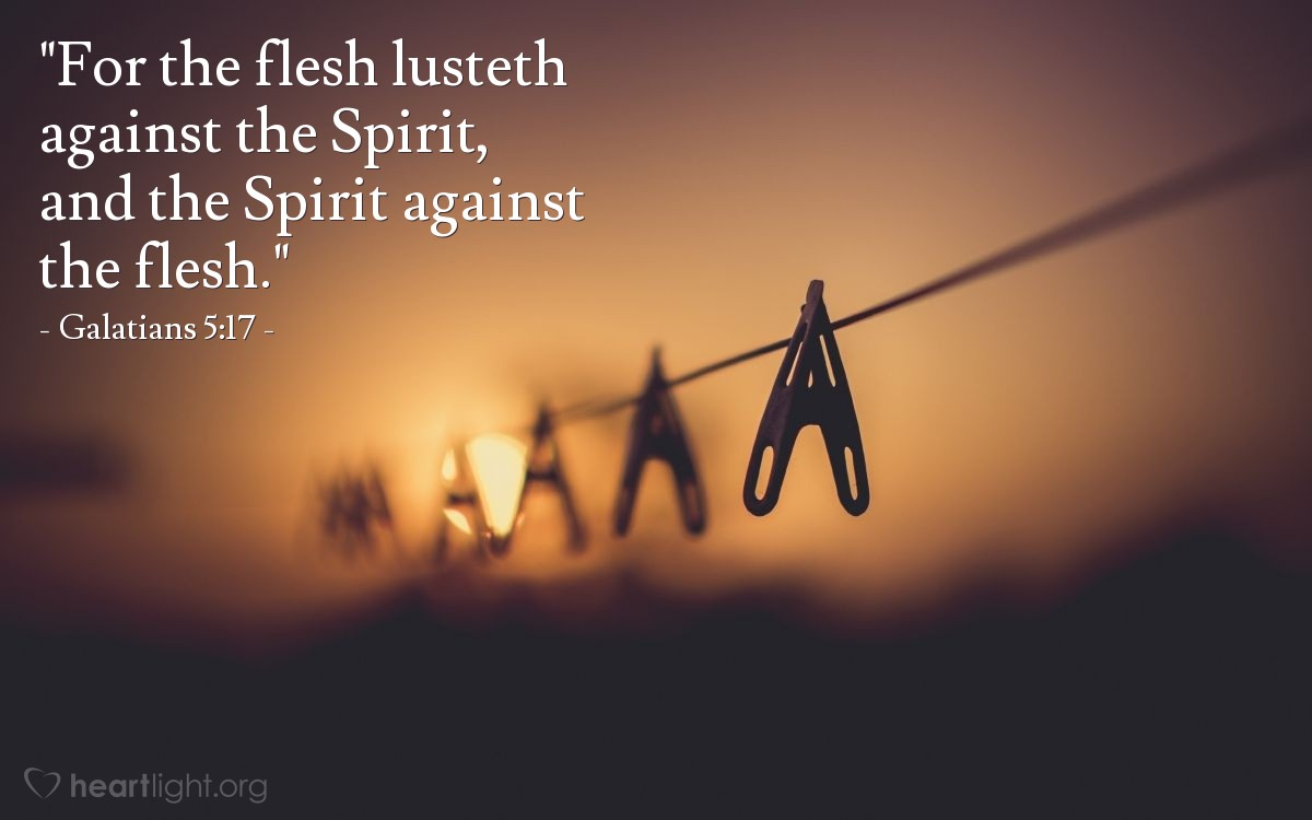 "Illustration of Galatians 5:17 — ""For the flesh lusteth against the Spirit, and the Spirit against the flesh."""