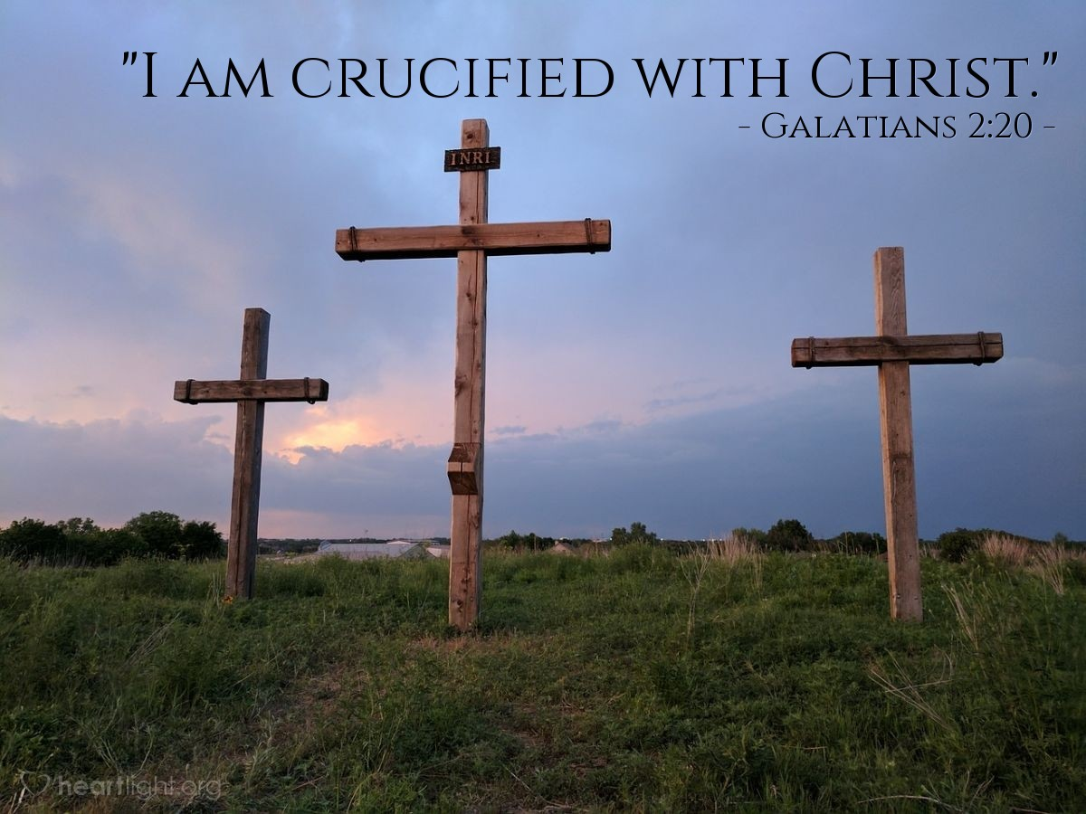 "Illustration of Galatians 2:20 — ""I am crucified with Christ."""