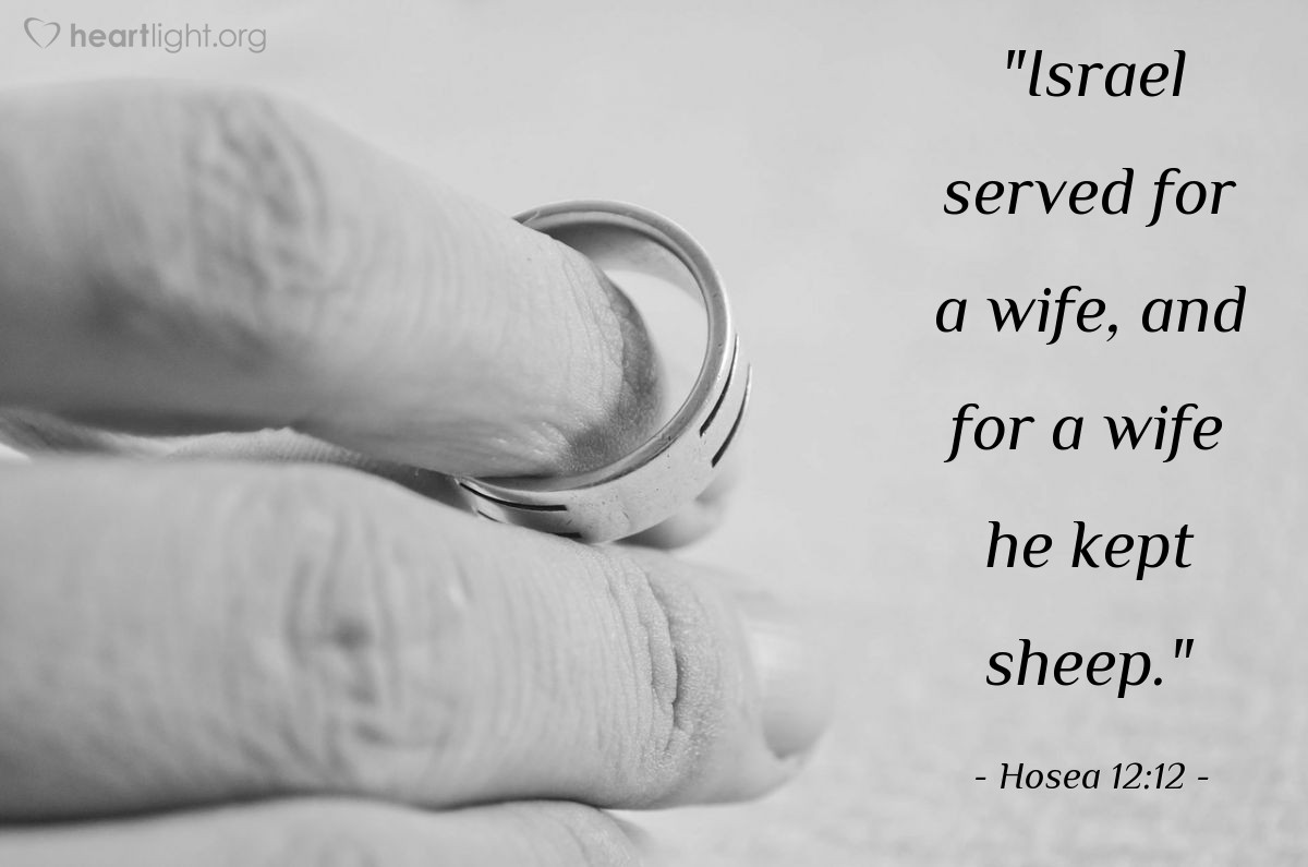 "Illustration of Hosea 12:12 — ""Israel served for a wife, and for a wife he kept sheep."""