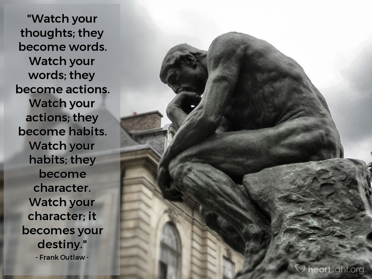 """Illustration of Frank Outlaw — """"Watch your thoughts; they become words.