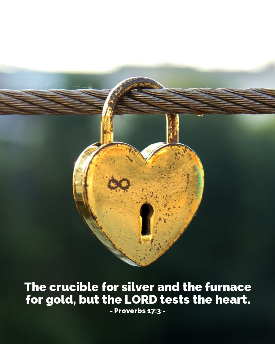 Illustration of Proverbs 17:3 — The crucible for silver and the furnace for gold, but the LORD tests the heart.