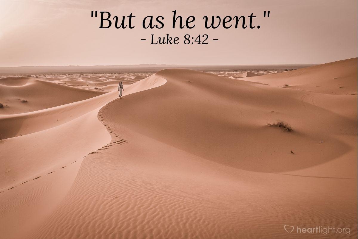 "Illustration of Luke 8:42 — ""But as he went."""