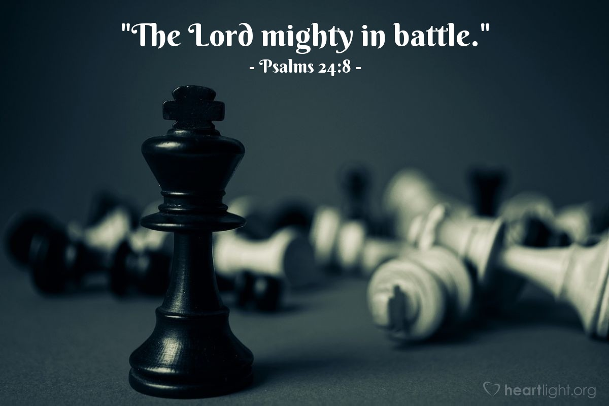 "Illustration of Psalms 24:8 — ""The Lord mighty in battle."""