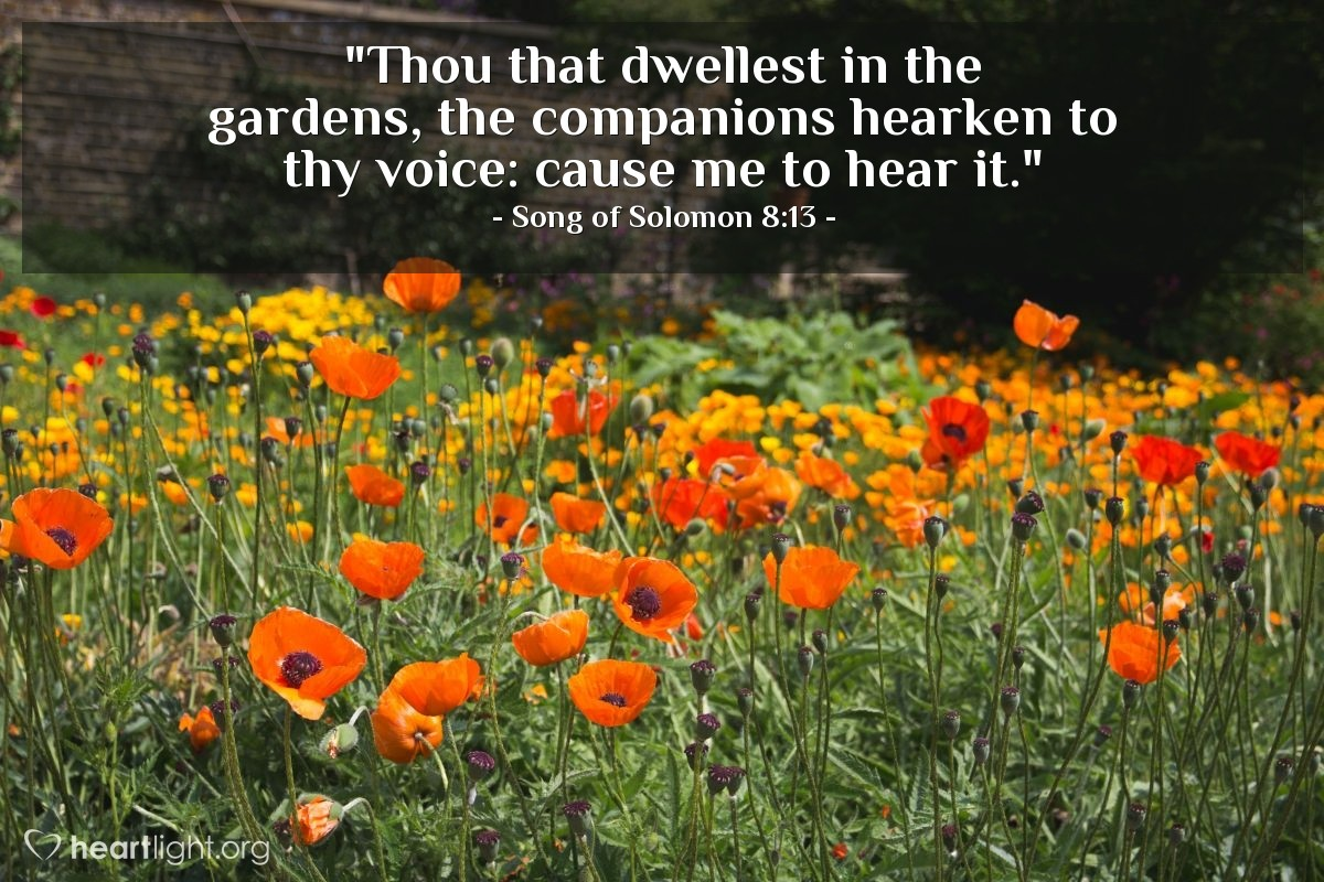 "Illustration of Song of Solomon 8:13 — ""Thou that dwellest in the gardens, the companions hearken to thy voice: cause me to hear it."""
