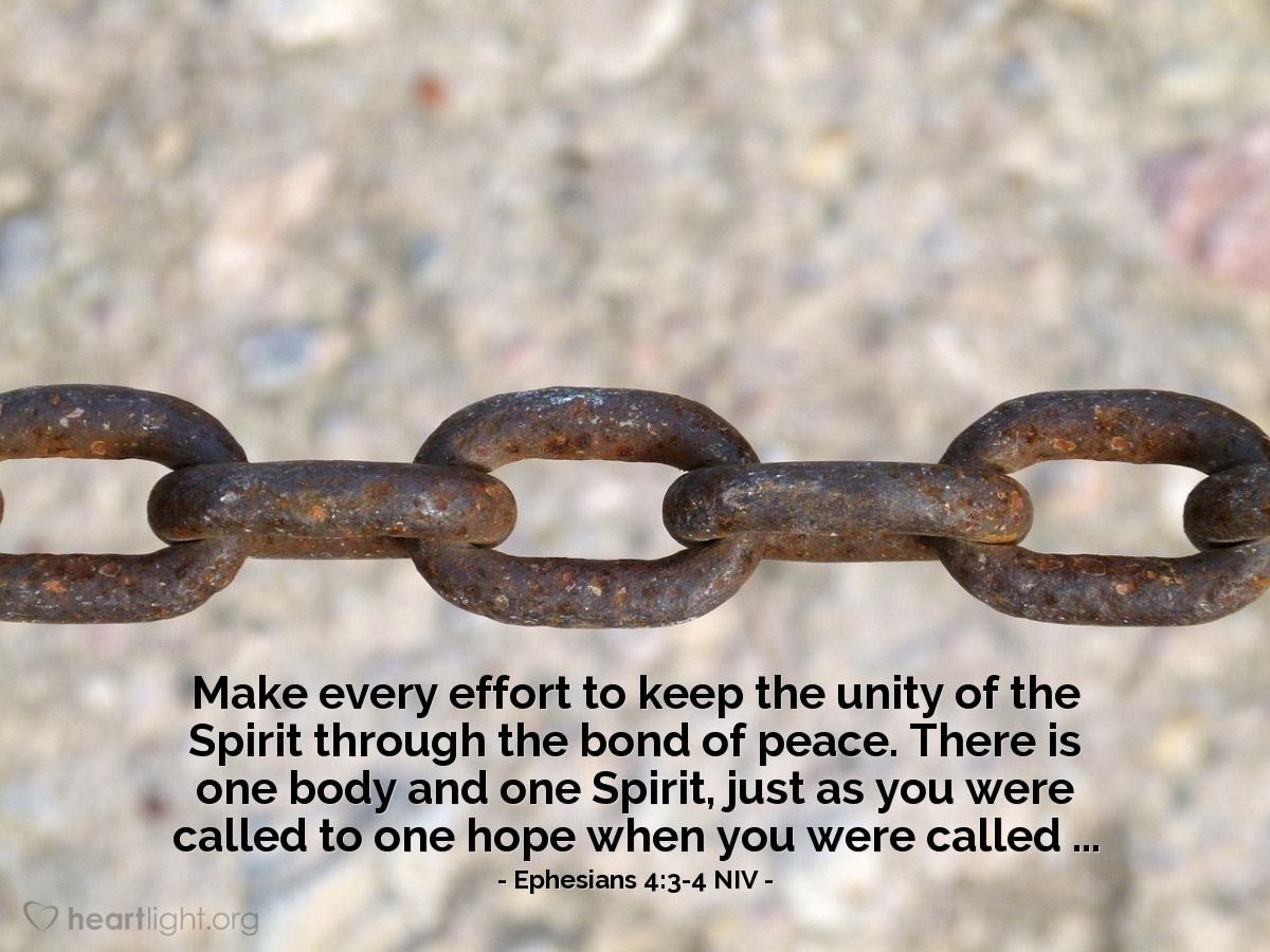 Illustration of Ephesians 4:3-4 NIV — Make every effort to keep the unity of the Spirit through the bond of peace. There is one body and one Spirit, just as you were called to one hope when you were called ...