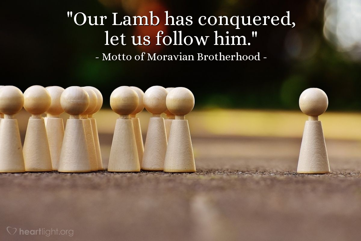 """Illustration of Motto of Moravian Brotherhood — """"Our Lamb has conquered, let us follow him."""""""