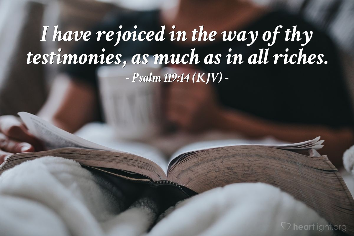 Illustration of Psalm 119:14 (KJV) — I have rejoiced in the way of thy testimonies, as much as in all riches.