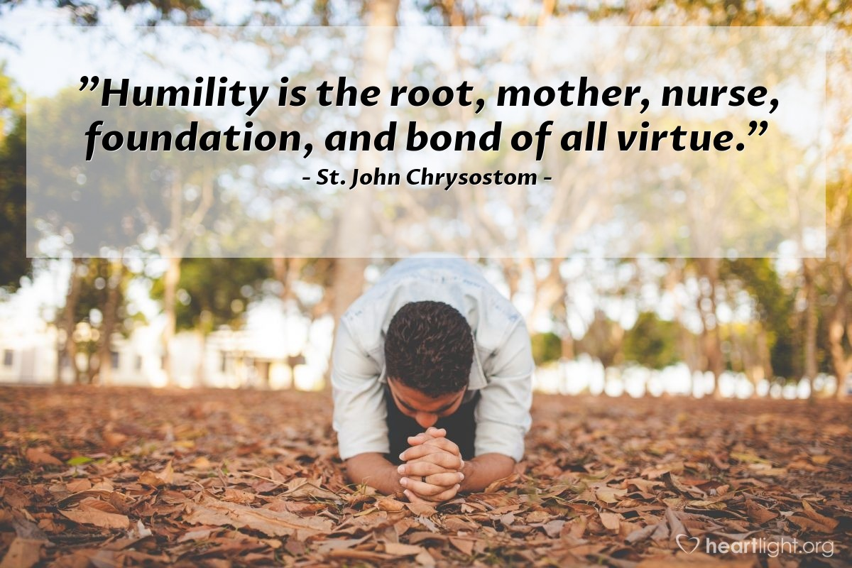 """Illustration of St. John Chrysostom — """"Humility is the root, mother, nurse, foundation, and bond of all virtue."""""""